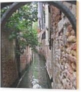Venice Canal Through Gate Wood Print by Italian Art