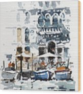 Venice Canal With Barges Wood Print