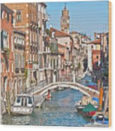 Venice Canaletto Bridging Wood Print