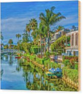 Venice Canals And Houses 4 Wood Print