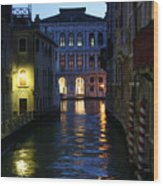 Venice Canals At Night Wood Print