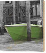 Venice Canals Green Boat Wood Print