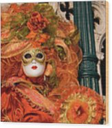 Venice Carnival Mask Italy Wood Print