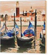 Venice, City Of Romance, Italy, Gondolas Wood Print