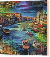 Venice Coming And Going Wood Print