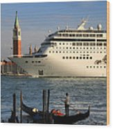 Venice Cruise Ship 2 Wood Print by Andrew Fare