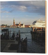 Venice Cruise Ship Wood Print by Andrew Fare