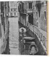 Venice Docked Boats Wood Print