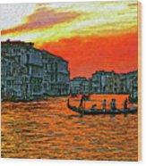Venice Eventide Impasto Wood Print