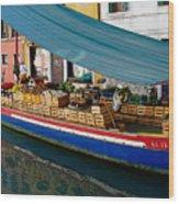 Venice Fresh Market Boat Wood Print