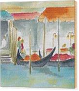Venice Gondolas Wood Print by Pat Katz