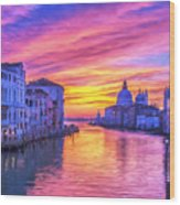 Venice Grand Canal At Sunset Wood Print