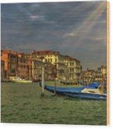 Venice Grand Canal God Sun Rays Wood Print