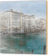 Venice Grand Canal Watercolour Painting Wood Print