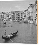 Venice In Black And White Wood Print