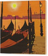 Venice In Orange Wood Print