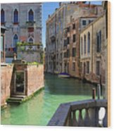 Venice Italy Canal And Lovely Old Houses Wood Print