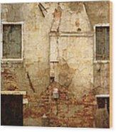 Venice Italy Crumbling Stucco Wall Wood Print