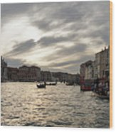 Venice Italy - Pearly Skies On The Grand Canal Wood Print