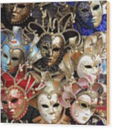 Venice Masks Wood Print