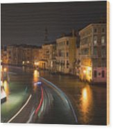 Venice Night Traffic Wood Print by Andrew Lalchan