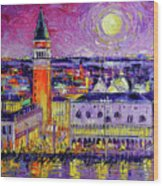 Venice Night View Modern Textural Impressionist Stylized Cityscape Wood Print