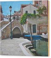 Venice Piazzetta And Bridge Wood Print