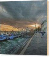 Venice Promenade Wood Print