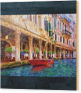 Venice Red Boat And Outdoor Cafe Wood Print