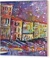Venice Reflections Celebrating Italy Painting Wood Print by Ginette Callaway