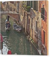 Venice Ride With Gondola Wood Print