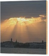 Venice Skyline At Sunset Wood Print