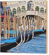 Venice Sunny Rialto Bridge Wood Print