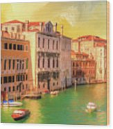 Venice Water Taxis Wood Print