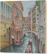 Venice Waterway  Italy Wood Print by Charles Hetenyi