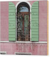 Venice Window In Pink And Green Wood Print