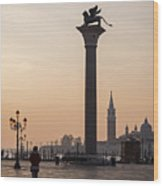 Venice - Winged Lion Of St Mark Wood Print