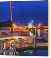 Ventura Harbor At Night Wood Print