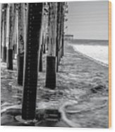 Ventura Pier Bxw Wood Print
