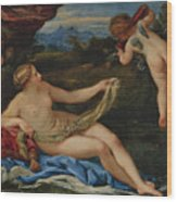 Venus And Cupid Wood Print