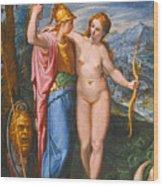 Venus And Minerva In A Landscape Wood Print