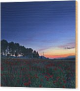 Venus And Moon Over Spring Poppies Wood Print