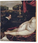 Venus And The Organist Wood Print by Titian