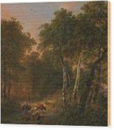 Verboeckhoven  Eugene   Forest Landscape With Animals Wood Print