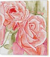 Vermilion Pink Roses Wood Print
