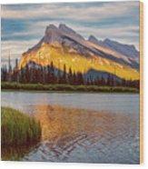 Vermillion Lakes And Mt Rundle II Wood Print