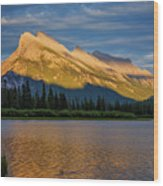 Vermillion Lakes And Mt Rundle Wood Print