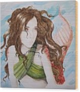 Vermillion Mermaid Wood Print