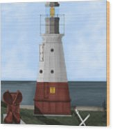 Vermillion River Lighthouse On Lake Erie Wood Print