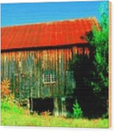 Vermont Barn With Really Red Roof  Wood Print